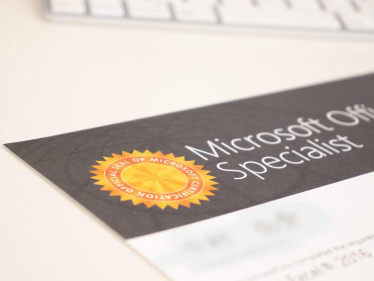MOS Excelの合格証